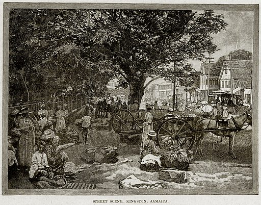 Street Scene, Kingston, Jamaica. Illustration from Cassell's History of England (special edition, AW Cowan, c 1890).