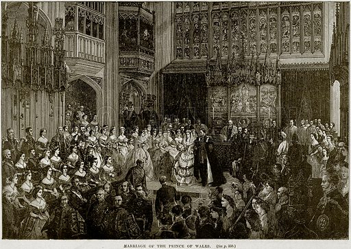 Marriage of the Prince of Wales. Illustration from Cassell's History of England (special edition, AW Cowan, c 1890).
