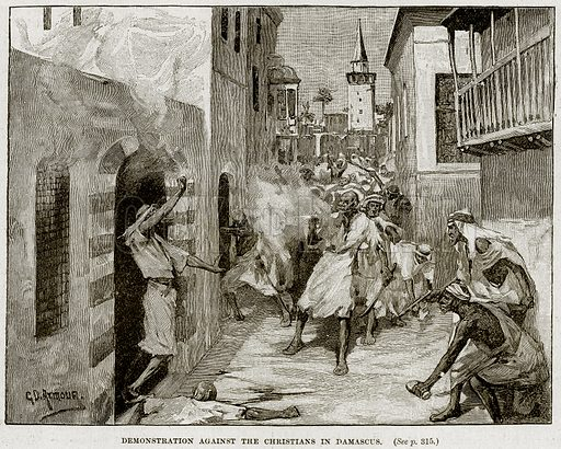Demonstration against the Christians in Damascus. Illustration from Cassell's History of England (special edition, AW Cowan, c 1890).