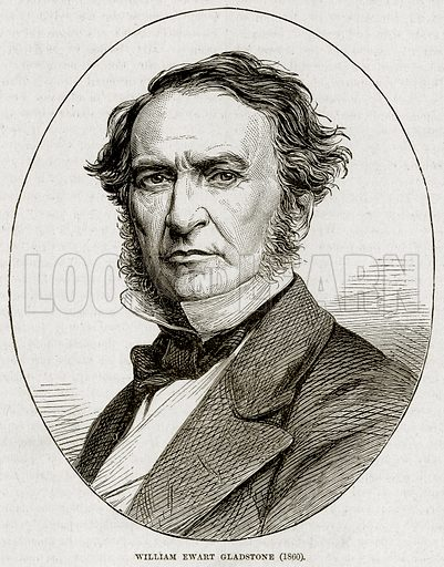 William Ewart Gladstone (1860). Illustration from Cassell's History of England (special edition, AW Cowan, c 1890).