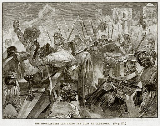 The Highlanders capturing the Guns at Cawnpore. Illustration from Cassell's History of England (special edition, AW Cowan, c 1890).