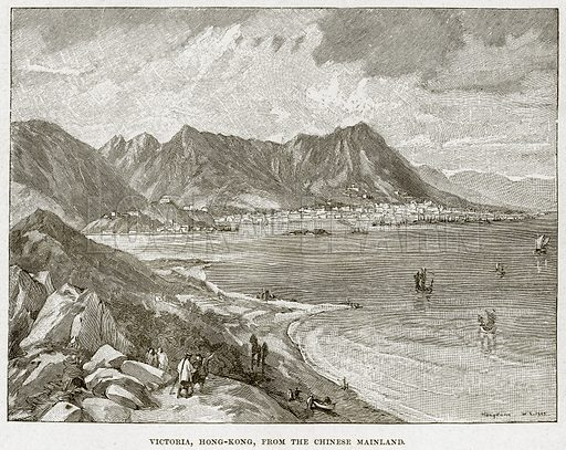 Victoria, Hong-Kong, from the Chinese Mainland. Illustration from Cassell's History of England (special edition, AW Cowan, c 1890).