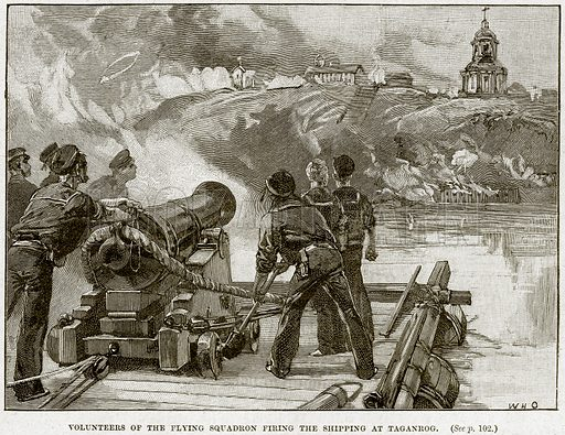 Volunteers of the Flying Squadron firing the Shipping at Taganrog. Illustration from Cassell's History of England (special edition, AW Cowan, c 1890).