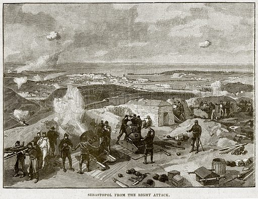 Sebastopol from the Right Attack. Illustration from Cassell's History of England (special edition, AW Cowan, c 1890).