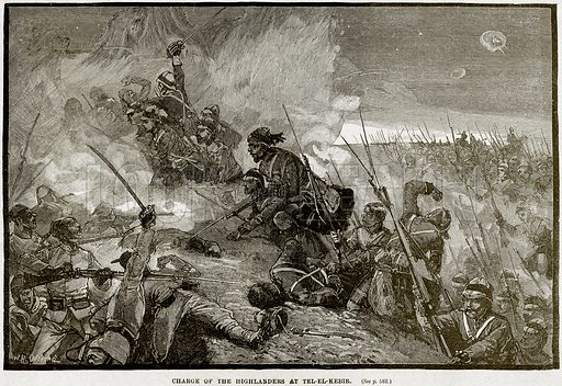 Charge of the Highlanders at Tel-el-Kebir. Illustration from Cassell's History of England (special edition, AW Cowan, c 1890).