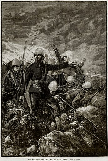 Sir George Colley at Majuba Hill. Illustration from Cassell's History of England (special edition, AW Cowan, c 1890).
