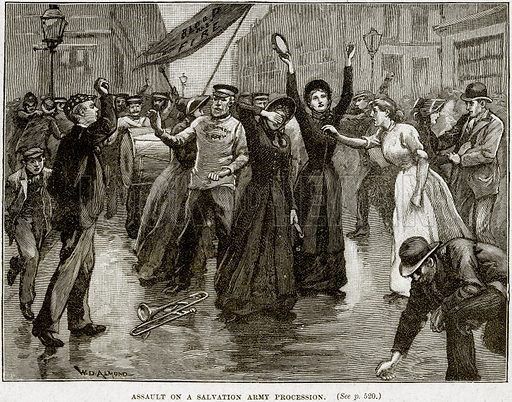 Assault on a Salvation Army Procession. Illustration from Cassell's History of England (special edition, AW Cowan, c 1890).