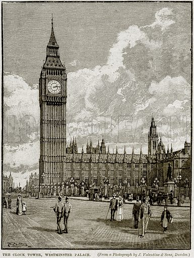 The Clock Tower, Westminster Palace. Illustration from Cassell's History of England (special edition, AW Cowan, c 1890).