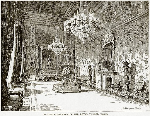 Audience Chamber in the Royal Palace, Rome. Illustration from Cassell's History of England (special edition, AW Cowan, c 1890).