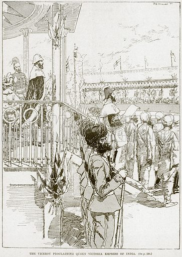 The Viceroy Proclaiming Queen Victoria Empress of India. Illustration from Cassell's History of England (special edition, AW Cowan, c 1890).