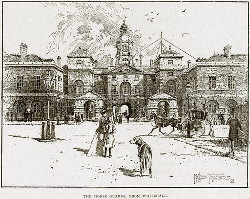 The Horse Guards, from Whitehall. Illustration from Cassell's History of England (special edition, AW Cowan, c 1890).