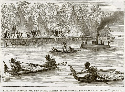 """Papuans of Humboldt Bay, New Guinea, alarmed at the Steam-Launch of the """"Challenger."""" Illustration from Cassell's History of England (special edition, AW Cowan, c 1890)."""