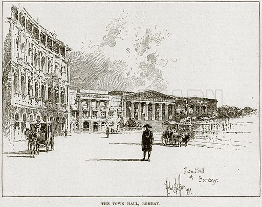 The Town Hall, Bombay. Illustration from Cassell's History of England (special edition, AW Cowan, c 1890).