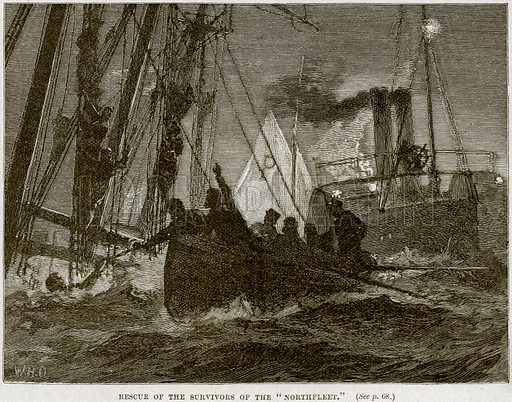 """Rescue of the Survivors of the """"Northfleet."""" Illustration from Cassell's History of England (special edition, AW Cowan, c 1890)."""