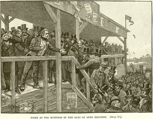 Scence at the Hustings in the Days of Open Election. Illustration from Cassell's History of England (special edition, AW Cowan, c 1890).