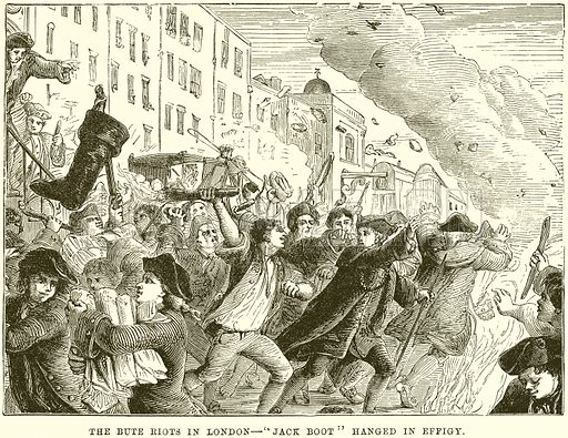 """The Bute Riots in London – """"Jack Boot"""" hanged in Effigy"""