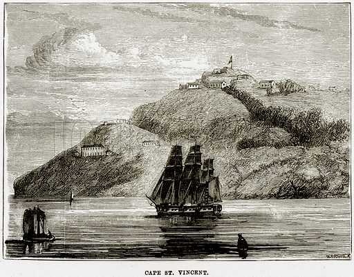 Cape St Vincent. Illustration from The Imperial History of England (Ward Lock, 1891).