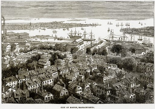 City of Boston, Massachusetts. Illustration from The Imperial History of England (Ward Lock, 1891).