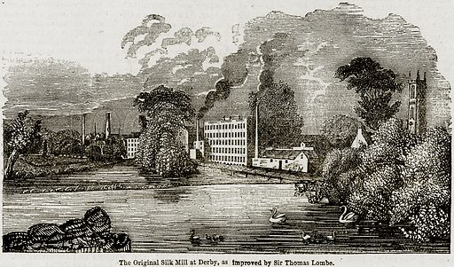 The Original Silk Mill at Derby, as improved by Sir Thomas Lombe. Illustration from The Imperial History of England (Ward Lock, 1891).