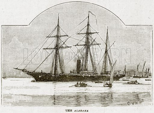 The Alabama. Illustration from The Life and Times of Queen Victoria by Robert Wilson (Cassell, 1893).