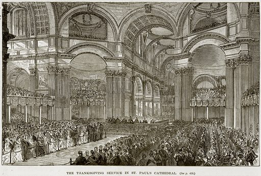 The Thanksgiving Service in St Paul's Cathedral. Illustration from The Life and Times of Queen Victoria by Robert Wilson (Cassell, 1893).