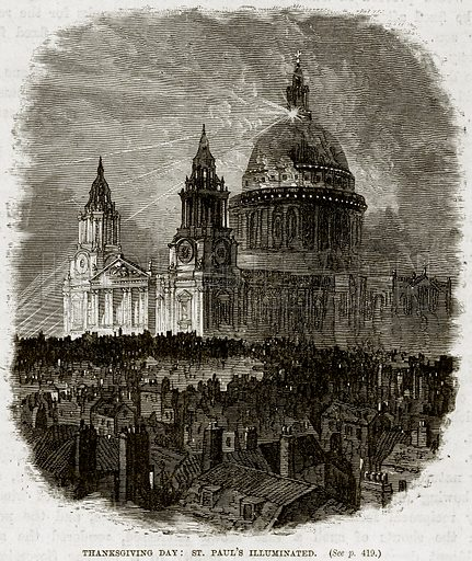 Thanksgiving Day: St Paul's Illuminated. Illustration from The Life and Times of Queen Victoria by Robert Wilson (Cassell, 1893).