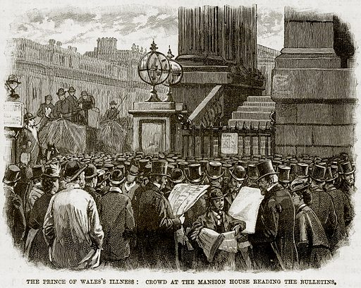 The Prince of Wales's Illness: Crowd at the Mansion House reading the Bulletins. Illustration from The Life and Times of Queen Victoria by Robert Wilson (Cassell, 1893).