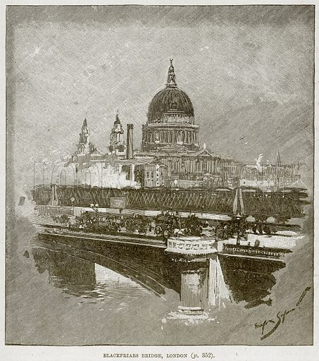 Blackfriars Bridge, London. Illustration from The Life and Times of Queen Victoria by Robert Wilson (Cassell, 1893).