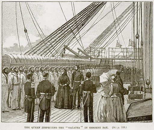 """The Queen inspecting the """"Galatea"""" in Osborne Bay. Illustration from The Life and Times of Queen Victoria by Robert Wilson (Cassell, 1893)."""