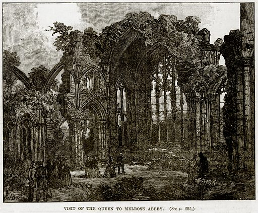 Visit of the Queen to Melrose Abbey. Illustration from The Life and Times of Queen Victoria by Robert Wilson (Cassell, 1893).