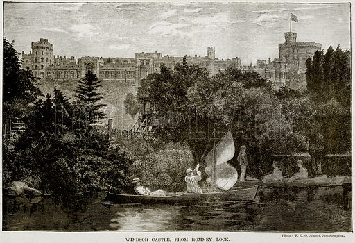 Windsor Castle from Romney Lock. Illustration from The Life and Times of Queen Victoria by Robert Wilson (Cassell, 1893).