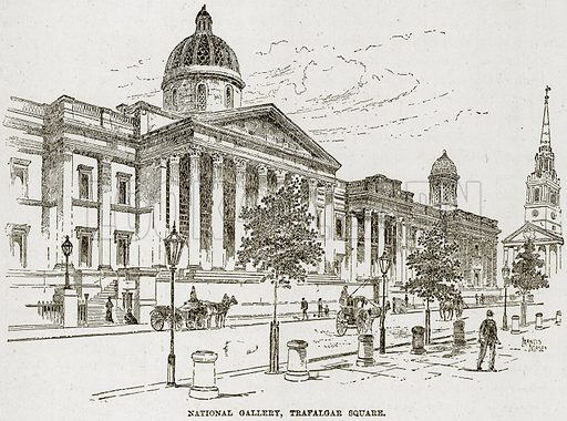 National Gallery, Trafalgar Sqaure. Illustration from The Life and Times of Queen Victoria by Robert Wilson (Cassell, 1893).