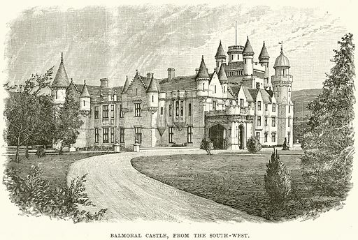 Balmoral Castle, from the South-West. Illustration from The Life and Times of Queen Victoria by Robert Wilson (Cassell, 1893).