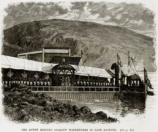 The Queen opening Glasgow Waterworks at Loch Katrine. Illustration from The Life and Times of Queen Victoria by Robert Wilson (Cassell, 1893).