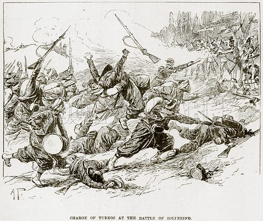 Charge of Turkos at the Battle of Solferino. Illustration from The Life and Times of Queen Victoria by Robert Wilson (Cassell, 1893).