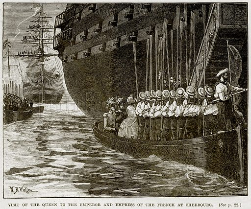 Visit of the Queen to the Emperor and Empress of the French at Cherbourg. Illustration from The Life and Times of Queen Victoria by Robert Wilson (Cassell, 1893).