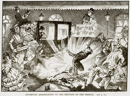 Attempted Assassination of the Emperor of the French. Illustration from The Life and Times of Queen Victoria by Robert Wilson (Cassell, 1893).