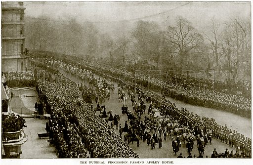 The Funeral Procession passing Apsley House. Illustration from The Life and Times of Queen Victoria by Robert Wilson (Cassell, 1893).
