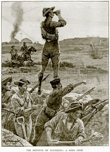 The Defence of Mafeking: A Good Shot. Illustration from The Life and Times of Queen Victoria by Robert Wilson (Cassell, 1893).