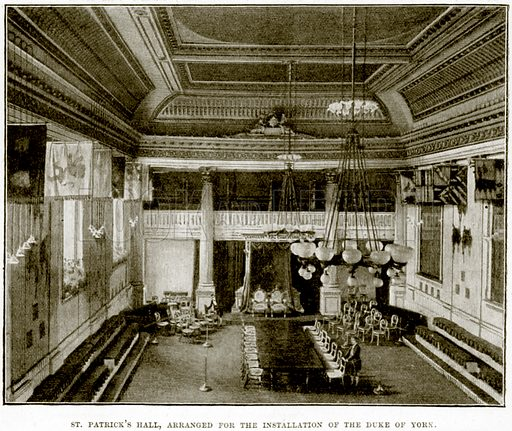 St Patrick's Hall, arranged for the installation of the Duke of York. Illustration from The Life and Times of Queen Victoria by Robert Wilson (Cassell, 1893).