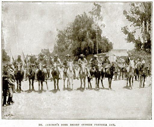 Dr Jameson's Boer Escort outside Pretoria Jail. Illustration from The Life and Times of Queen Victoria by Robert Wilson (Cassell, 1893).