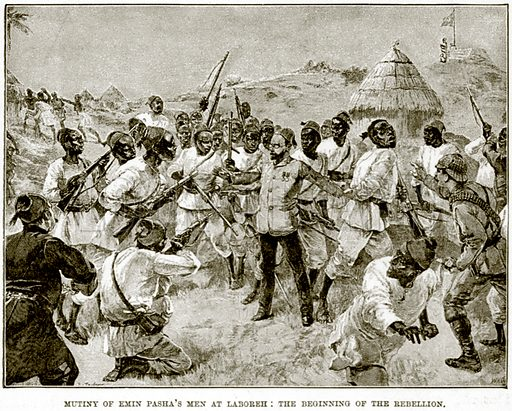 Mutiny of Emin Pasha's Men at Laboreh: The beginning of the Rebellion. Illustration from The Life and Times of Queen Victoria by Robert Wilson (Cassell, 1893).