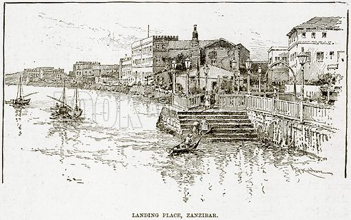 Landing Place, Zanzibar. Illustration from The Life and Times of Queen Victoria by Robert Wilson (Cassell, 1893).