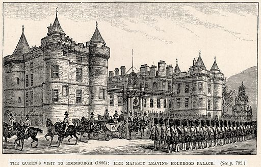 The Queen's Visit to Edinburgh (1886): Her Majesty leaving Holyrood Palace. Illustration from The Life and Times of Queen Victoria by Robert Wilson (Cassell, 1893).
