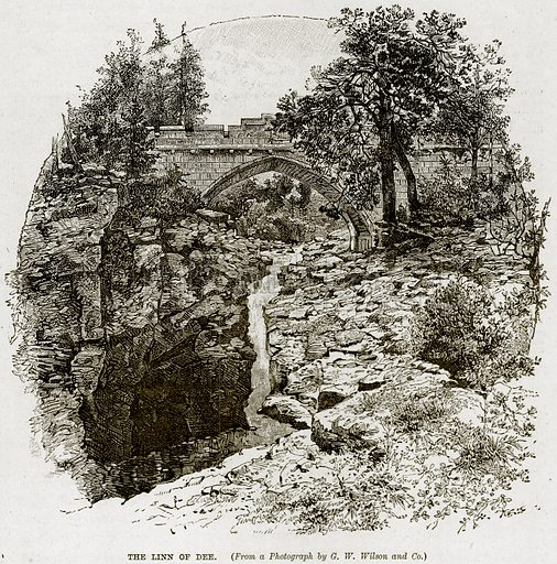 The Linn of Dee. Illustration from The Life and Times of Queen Victoria by Robert Wilson (Cassell, 1893).