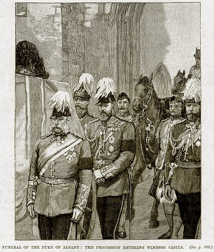 Funeral of the Duke of Albany: The Procession entering Windsor Castle. Illustration from The Life and Times of Queen Victoria by Robert Wilson (Cassell, 1893).