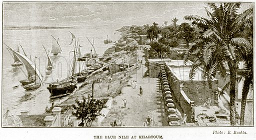 The Blue Nile at Khartoum. Illustration from The Life and Times of Queen Victoria by Robert Wilson (Cassell, 1893).
