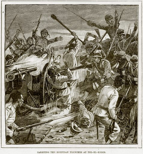 Carrying the Egyptian Trenches at Tel-el-Kebir. Illustration from The Life and Times of Queen Victoria by Robert Wilson (Cassell, 1893).