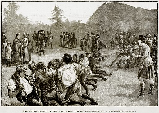 The Royal Family in the Highlands: Tug of War-Balmoral v Abergeldie. Illustration from The Life and Times of Queen Victoria by Robert Wilson (Cassell, 1893).