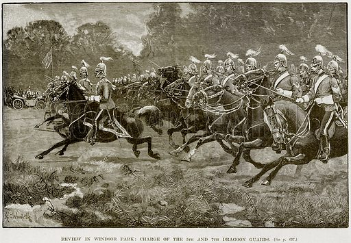 Review in Windsor Park: Charge of the 5th and 7th Dragoon Guards. Illustration from The Life and Times of Queen Victoria by Robert Wilson (Cassell, 1893).